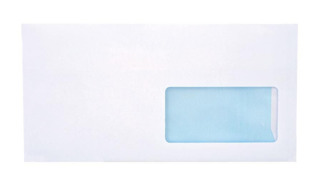 White envelope DL SK 110x220 right window blue layout 1000pcs